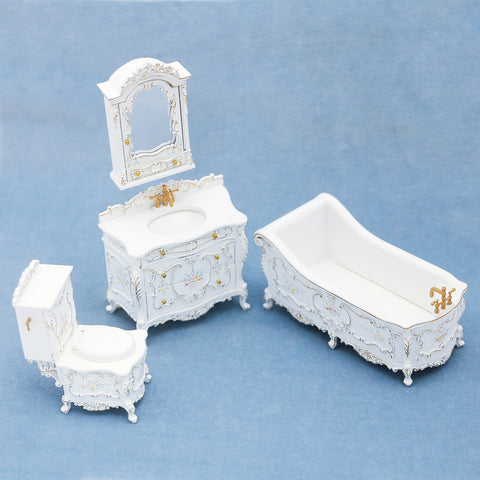 Victorian Bathroom, Four Piece Set, White/Floral