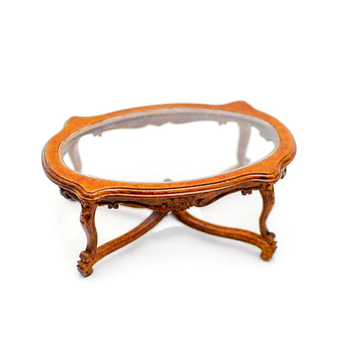 18th Century Glass Top Coffee Table, Walnut Finish