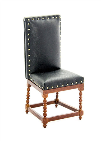 Leather Desk Chair with Studs, Black by JBM