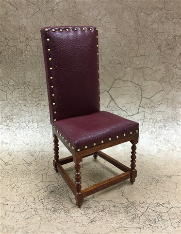 Leather Desk Chair with Studs, Burgundy by JBM ON SPECIAL