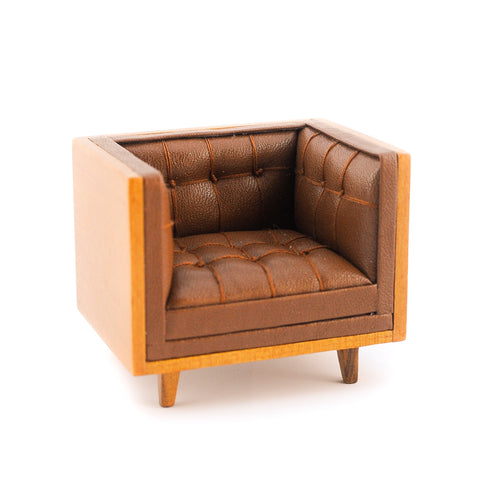 Mid Century Modern Tub Style Chair, Brown Leather