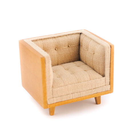 Mid Century Tub Style Chair, Beige and Walnut