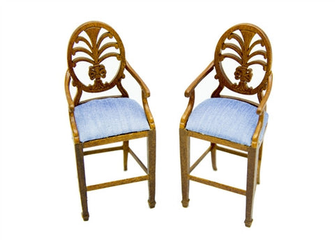 Pair of Bar Stools with Blue Seat Cushion