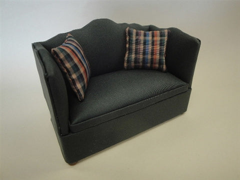 Settee, Green with Pillows