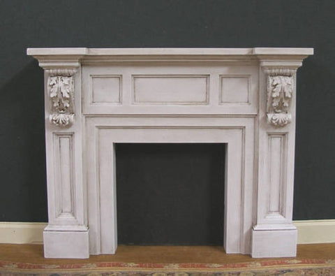 Fireplace with Leaf Brackets, Distressed Finish