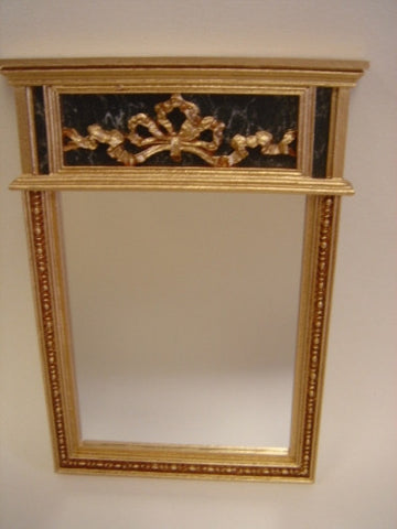 Mirror with Marble and Gold Ribbon