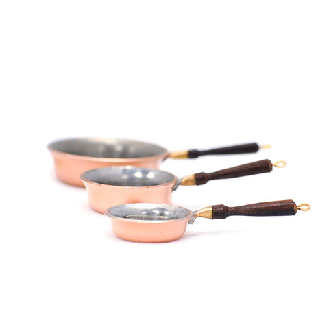 Copperware Saute' Pans with Rosewood Handles, Set of Three