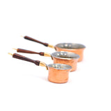 Copperware Saucepans with Rosewood Handles, Set of Three