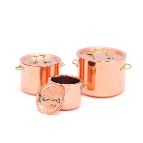 Copper Flat Bottom Stock Pots, Set of Three