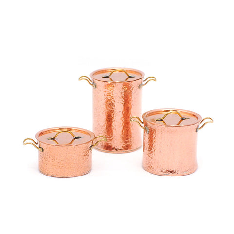 Copperware Hammered Stockpots, Set of Three