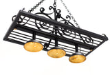 Wrought Iron Rectangle Hanging Pot Rack with 3 Down Lights