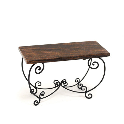 J. Getzan Wrought Iron Table with Rosewood Table Top