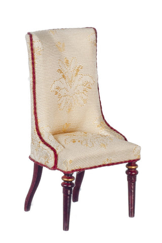 Classic Design Side Chair, White Silk and Mahogany