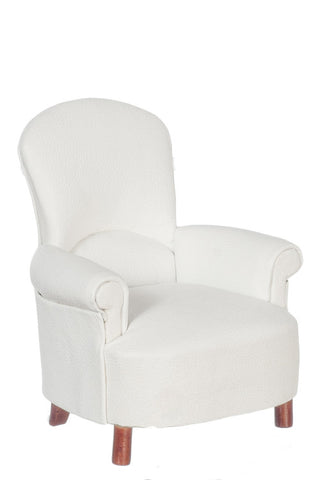 Padded Tub Chair, White with Walnut Legs