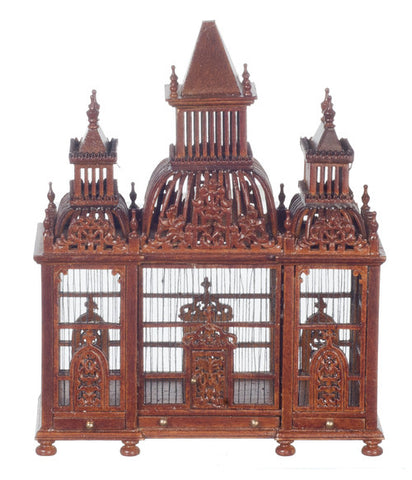 Elaborate Bird Cage with Birds, Walnut Finish