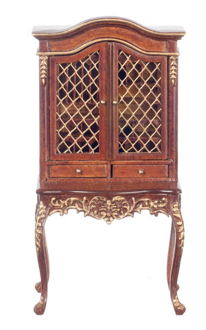 Display Cabinet with Wire Doors, Walnut and Gold Finish