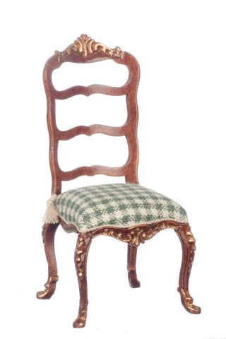 French Provincial Chair with Green Check