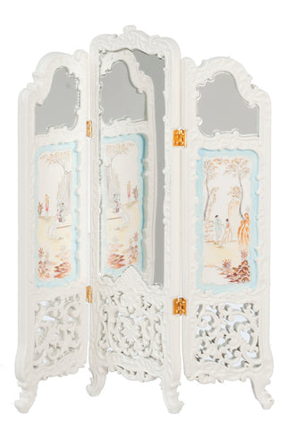 Mirrored Room Divider/Folding Screen, White with Details
