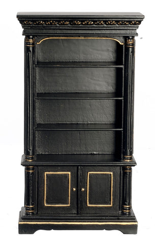 Book Case, Black with Gold Trim