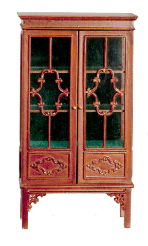 1780's Style China Cabinet, Walnut and Glass