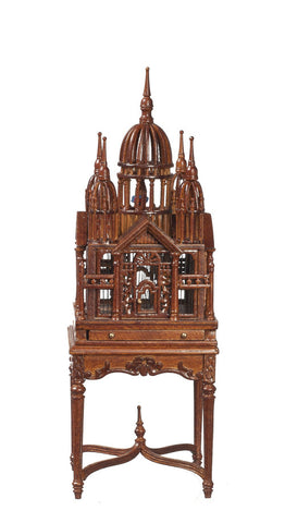Victorian Birdcage on Table, Walnut Finish