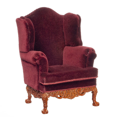 Victorian Wing Chair, Burgundy Velvet and Walnut