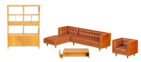 Mid Century Sectional 5 Piece Living Room Set, Leather
