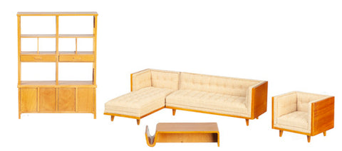 Mid Century Sectional 5 Piece Living Room Set, Linen