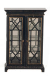 Black Cabinet with Glass and Gold Trim