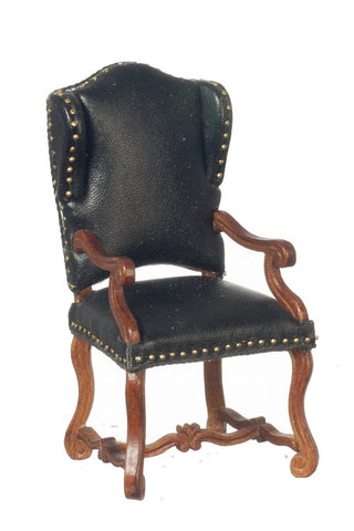 Spanish Carver Arm Chair, Black Leather and Studs