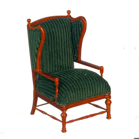 Wing Chair with Wood Frame, Green Upholstery