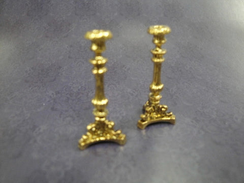 Candlesticks, Pair Bronzed with Tri-base