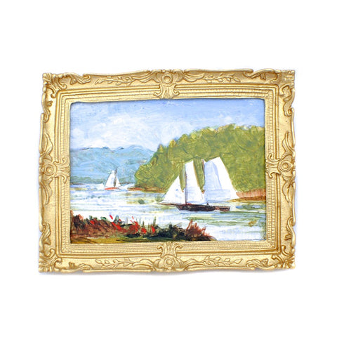 Original Painting, Sailboats on River