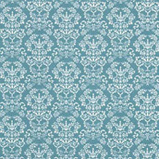 Wallpaper, Renaissance White on Blue