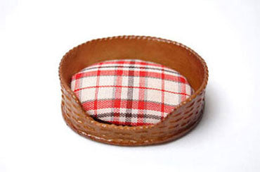 Dog Bed, Oval, Brown Wicker and Light Plaid