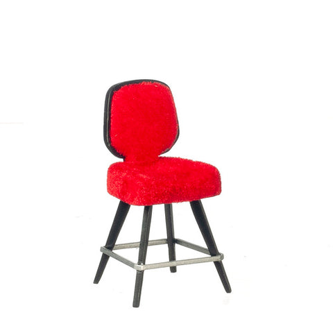 Red Upholstered Bar Stool