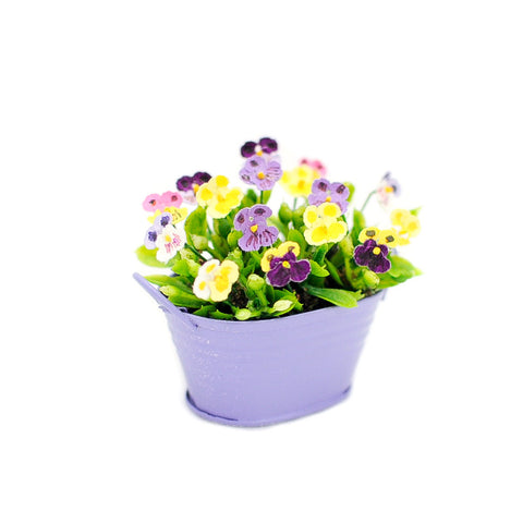 Bucket of Pansies, Purple