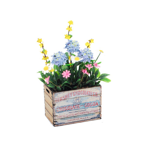 Vintage Chocolate Crate with Spring Flowers