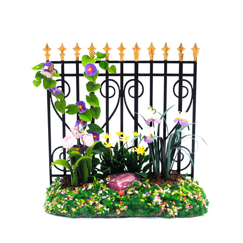 Garden Fence, Black with Purple Flowers