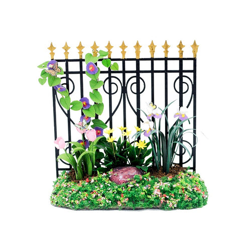 Iron Fence with Spring Flowers