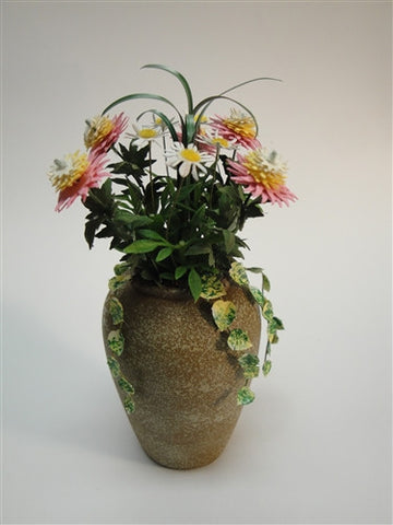Patio Jar, Large, Pink and Yellow Mums and Daisies