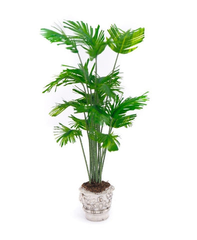 Elegant Potted Palm in Grey Planter