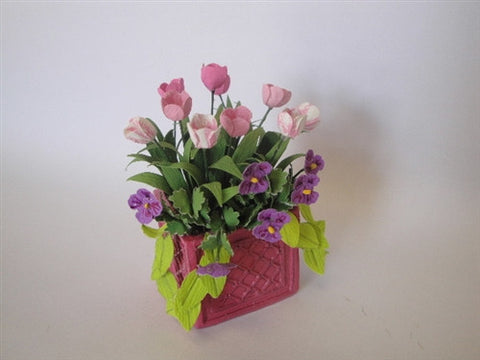 Tulips in Pink Planter
