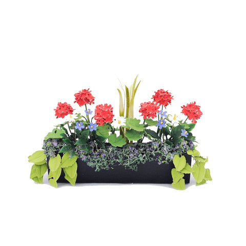 Flower Box, Black with Red Geraniums