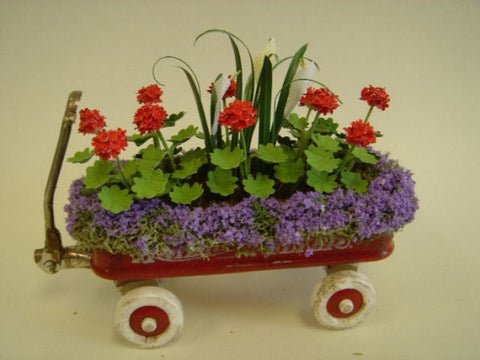 Red Wagon with Red and Purple Flowers