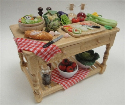 Kitchen Work Table with Vegetable Preparations