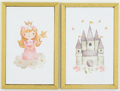 Pair of Framed Prints for a Little Girl, Pink and White
