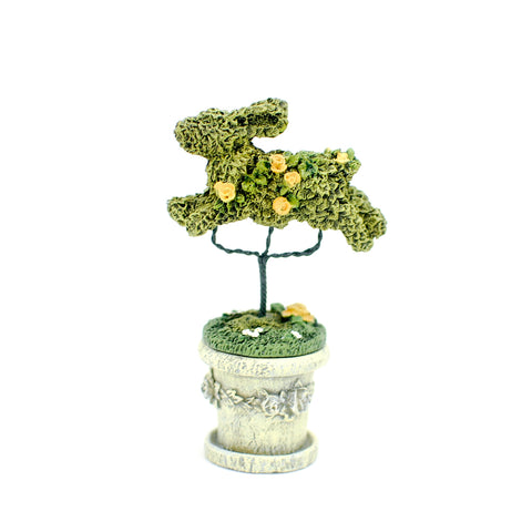 Bunny Rabbit Topiary in Grey Planter