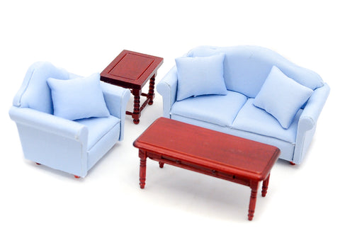 Living Room Set, Four Piece, Blue ON SPECIAL