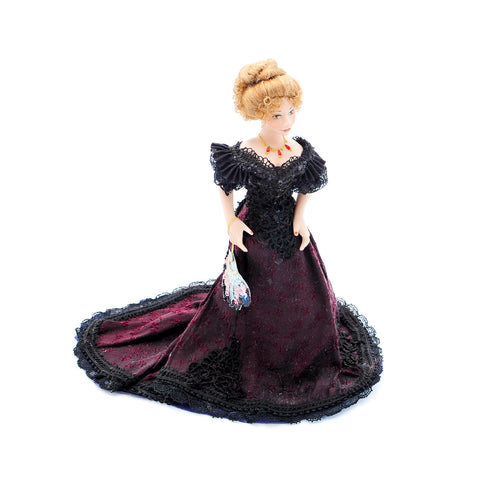 Lady Doll Figure with Purple and Black Gown